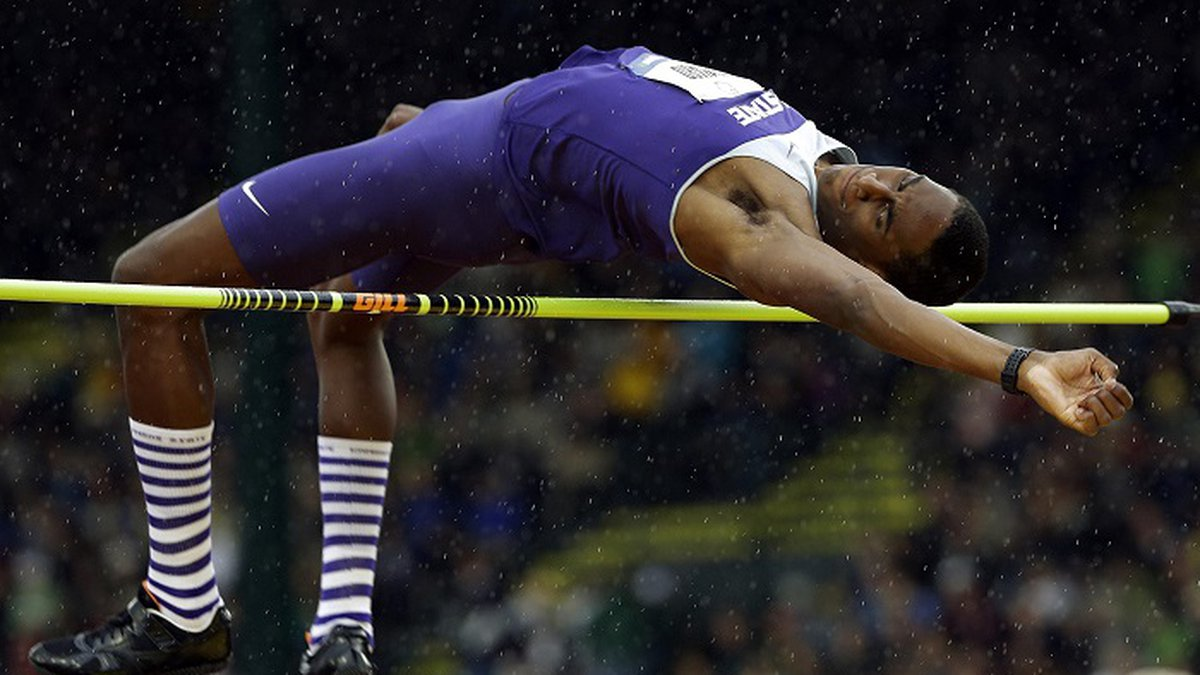 Erik Kynard Jr., participates in the men's high jump finals at the U.S. Olympic Track and Field...