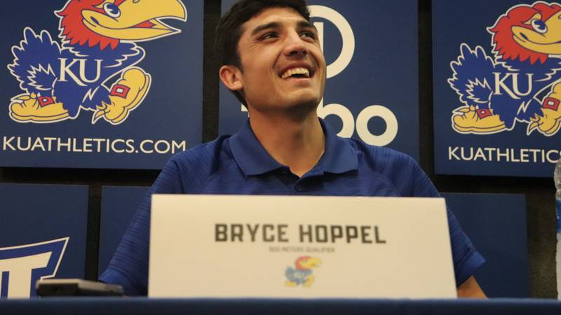 KU Track's Bryce Hoppel speaks with the media ahead of his Olympic debut.