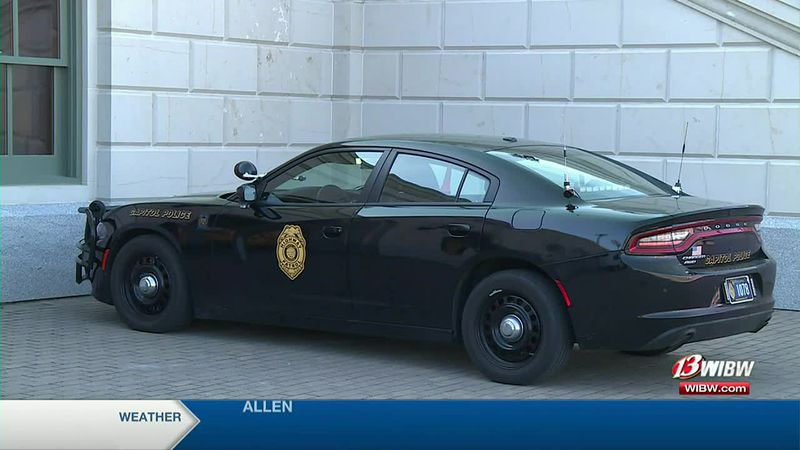 A Capitol Police car outside the Kansas Statehouse on Wednesday, January 13, 2021.