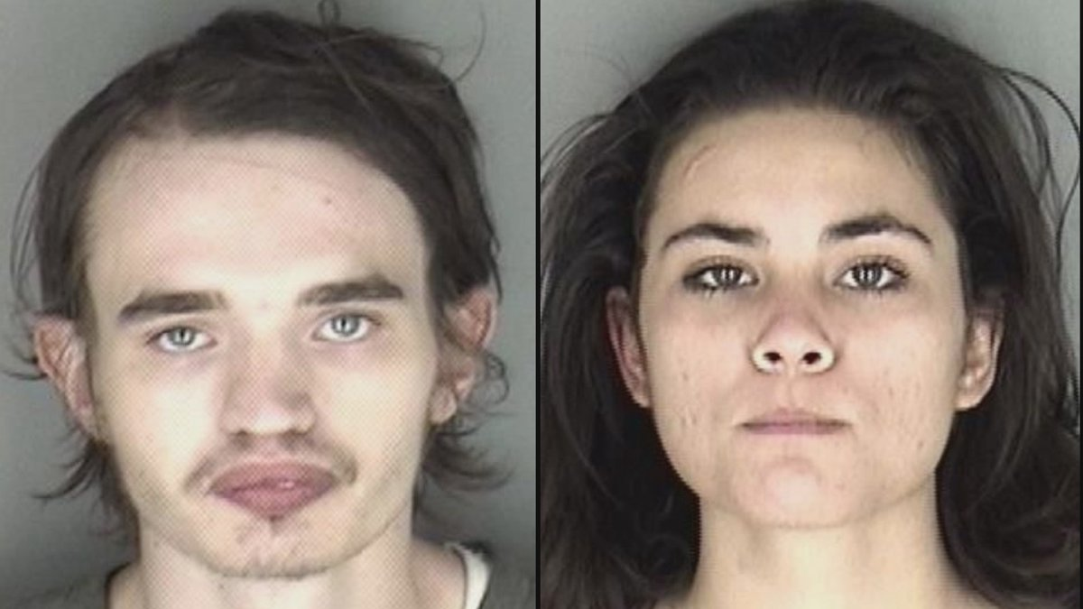 Nathan Paul Leonard, 21, left, and Nicole Moreno, 20, were arrested following a police chase...