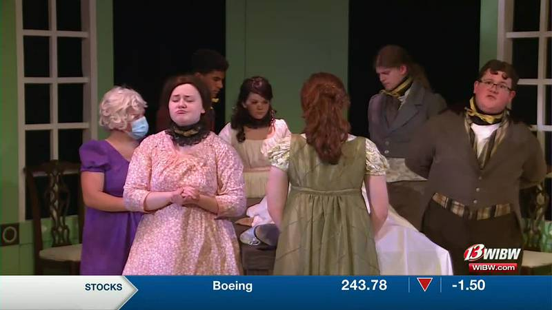 Actors on stage rehearse Sense and Sensibility at Helen Hocker Theater.