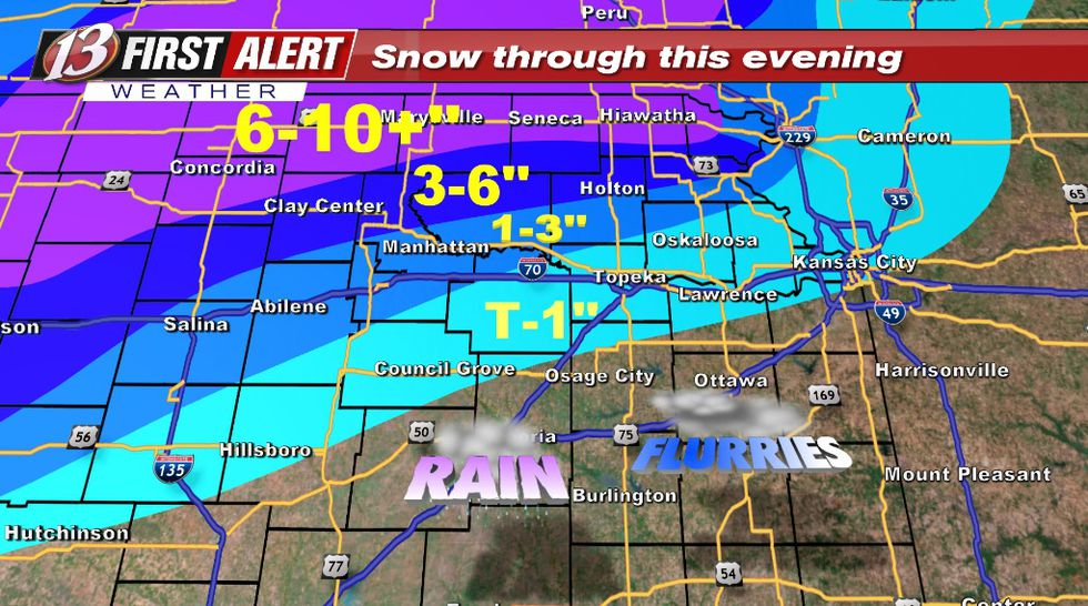Minor adjustments from this morning but still on track to get the most snow near HWY 36