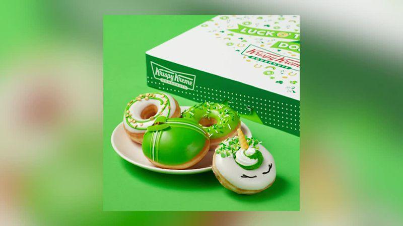 Krispy Kreme is offering festive donuts through St. Patrick's Day.
