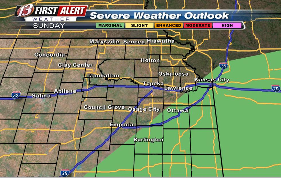 Main hazard: Hail Mainly with storms that develop late afternoon/evening