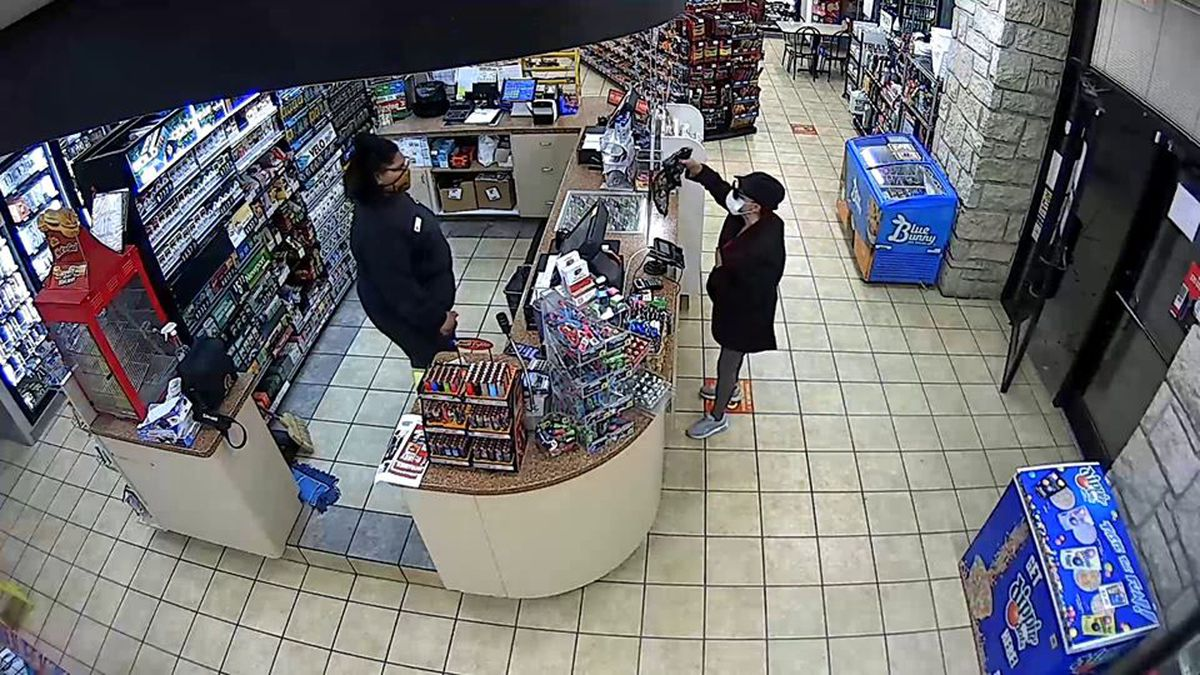 Emporia police are looking for a masked woman that robbed a convenience store.