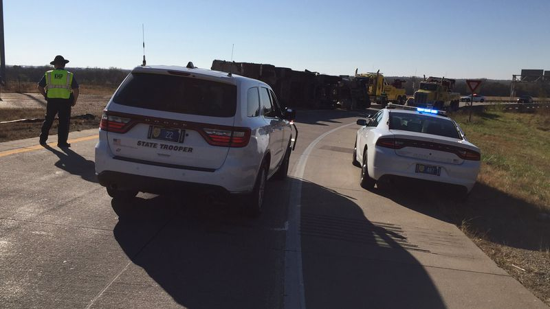 Nobody was seriously injured after a big-rig lost its load of livestock feed on the Oakland...
