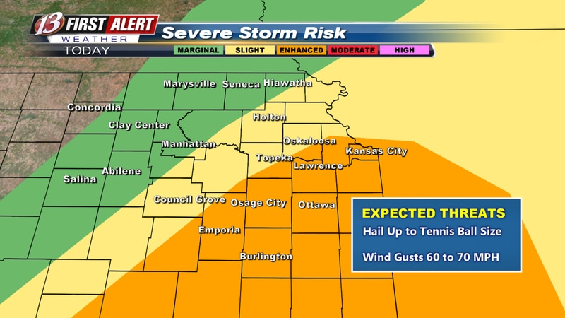 Highest chance of severe weather for areas in orange.