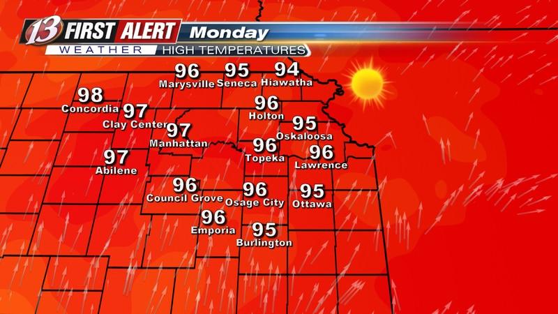 Monday forecast high temperatures.