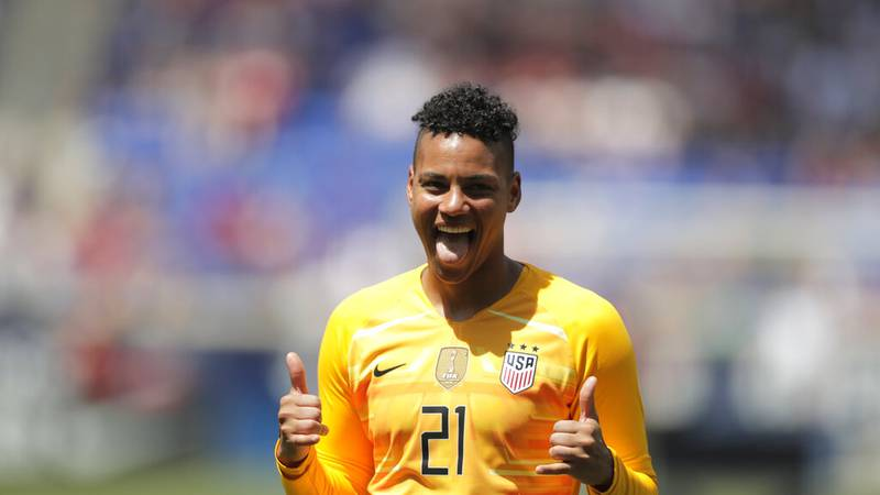 FILE - United States goalkeeper Adrianna Franch, of Kansas, is introduced during a send-off...