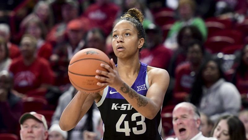 Kansas State guard Christianna Carr shoots against Arkansas during an NCAA women's basketball...