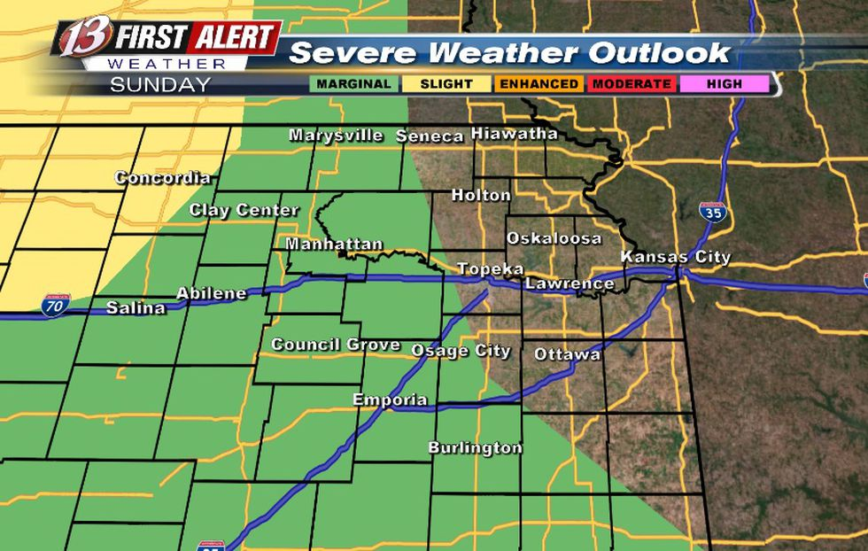 Hail/wind threat with storms Sunday night