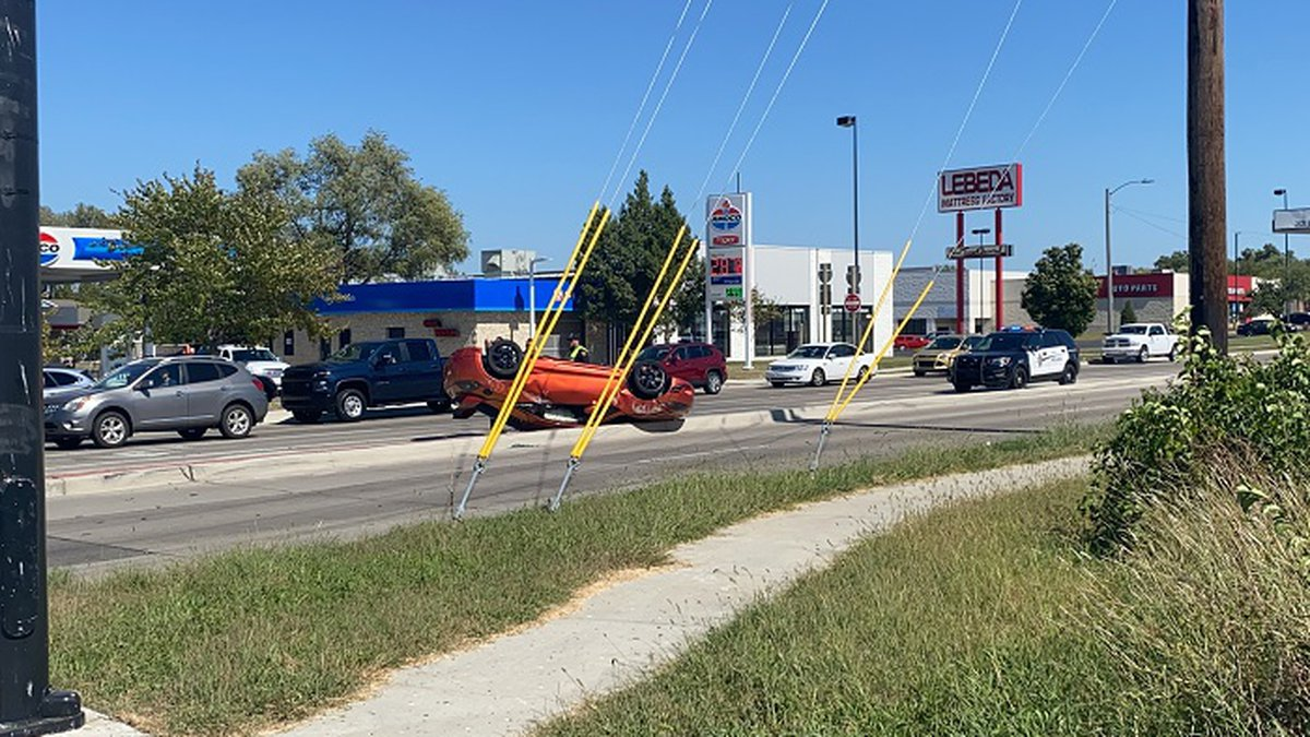 A red sedan rolled over after being pushed by a minivan on 29th and Fairlawn  in Topeka on...