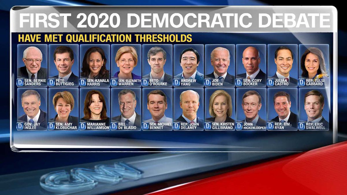 The Democratic National Committee announced which 20 Democratic presidential candidates qualified for the first two 2020 debates. (Source: CNN)