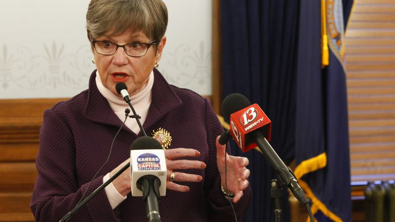 Kansas Gov. Laura Kelly Wednesday, March 3, 2021, at the Statehouse in Topeka, Kan. (AP...