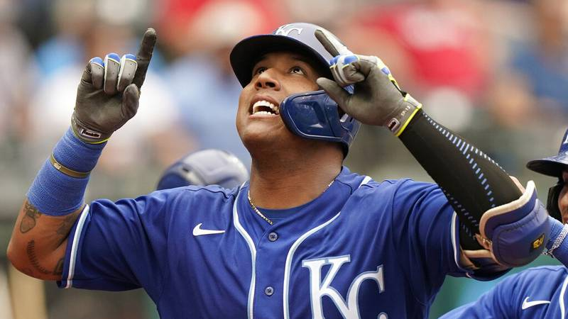 Kansas City Royals' Salvador Perez looks up after hitting a two-run home run in the fifth...