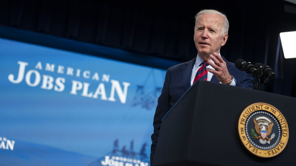 President Joe Biden speaks during an event on the American Jobs Plan in the South Court...