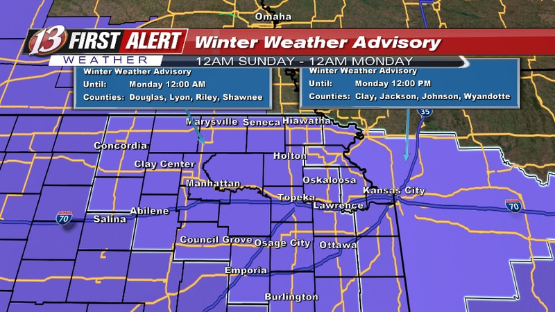 """In effect from 12am Sunday to 12am Monday for widespread snow accumulations of 1-3""""."""