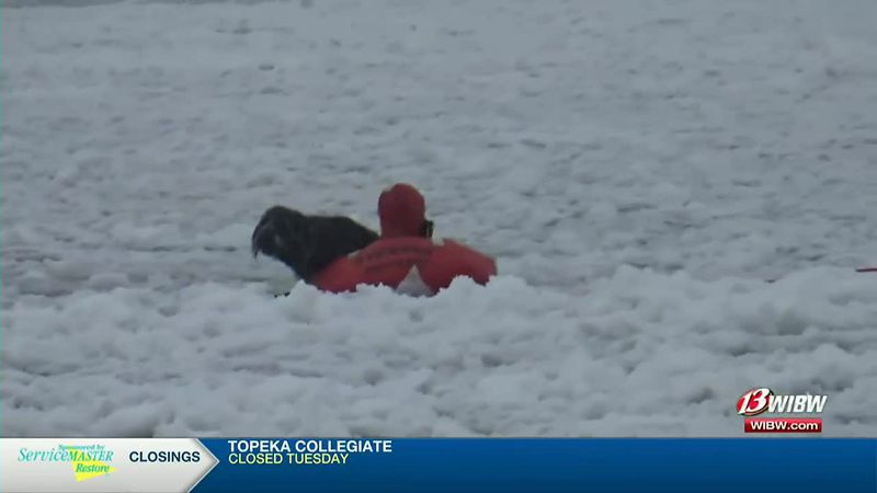 A member of the Mission Township Fire Department's Water Rescue Team rescues Oskie the dog on...
