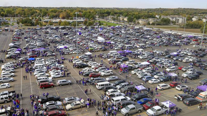 Kansas State fans tailgate outside the Bill Snyder Family Stadium before an NCAA college...