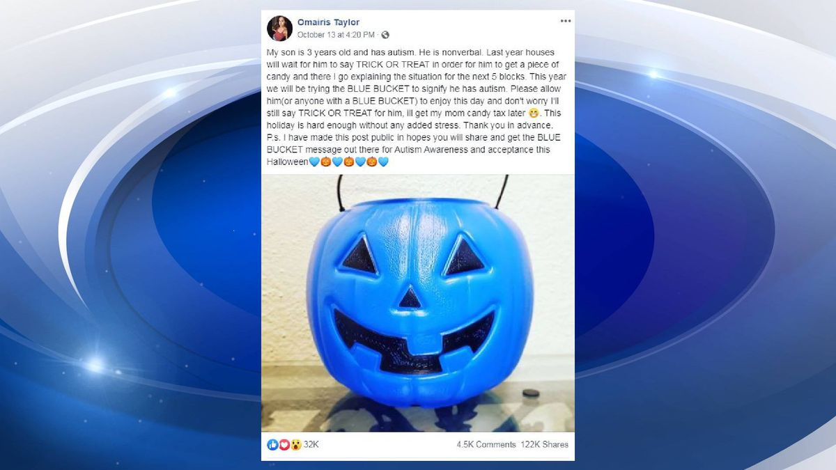 This mom is looking to raise autism awareness through a blue trick-or-treat bucket. (Source:...