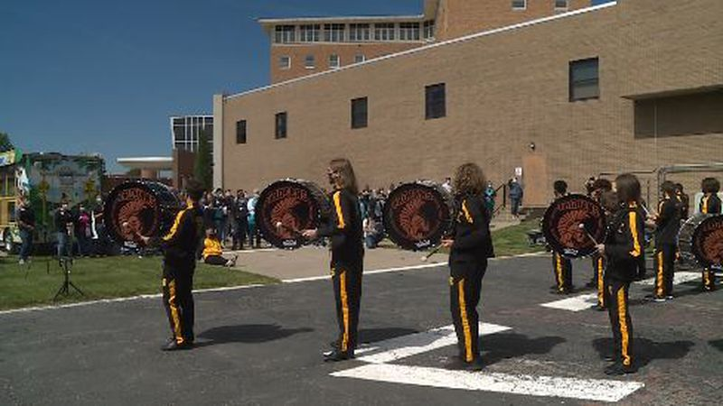 Topeka High School's drumline held its very own pep rally on Friday to celebrate Stormont Vail...