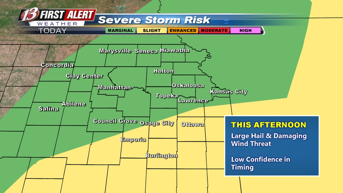 Risk of severe weather covers all of northeast Kansas today, but the chance will be highest for...