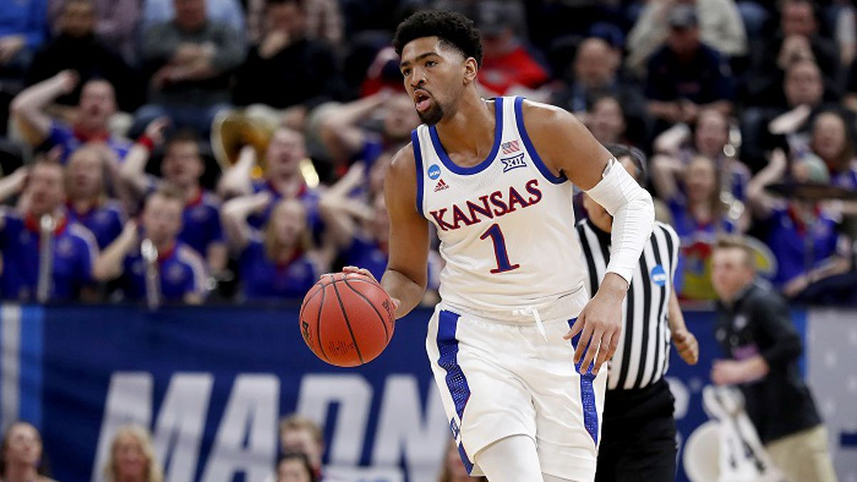 Kansas forward Dedric Lawson (1) plays against Northeastern during a first round men's college basketball game in the NCAA Tournament Thursday, March 21, 2019, in Salt Lake City. (AP Photo/Jeff Swinger)