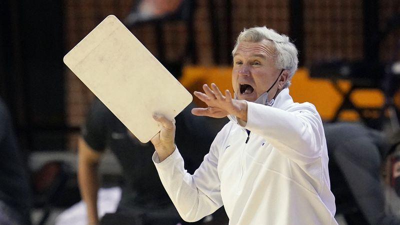 Kansas State head coach Bruce Weber shouts in the second half of an NCAA college basketball...