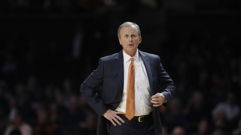 Tennessee head coach Rick Barnes watches the action in the second half of an NCAA college...
