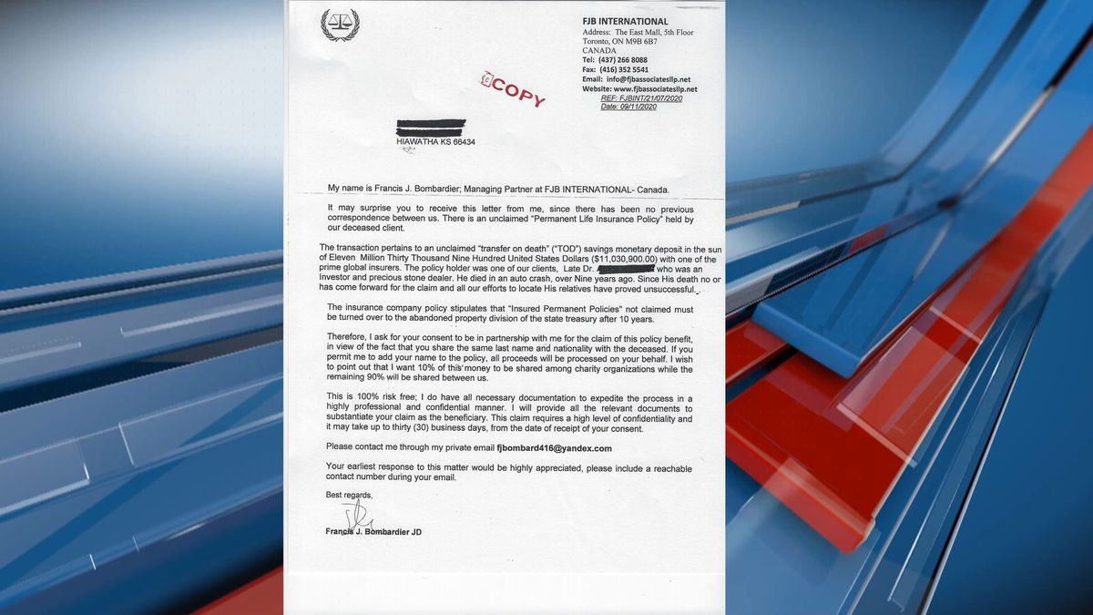 A scam is circulating brown county in the form of a letter.