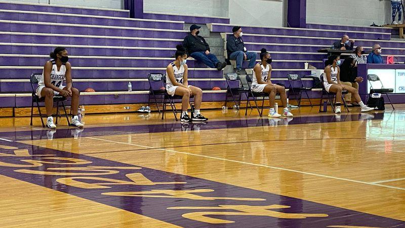 Topeka West Girls' wearing masks on bench during their game against Seaman. (Dec. 8, 2020)