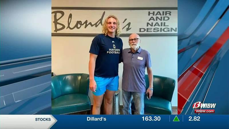 Hayden's Trey Pivarnik donates his hair in honor of his grandpa, Larry Bain, who has battled...