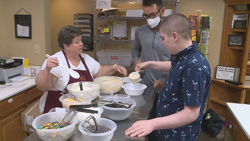 Lori Hutchinson was able to take Jamie to Hazel Hill Chocolate and hear his story.