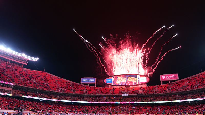 Fireworks go off over Arrowhead Stadium after the AFC championship NFL football game between...