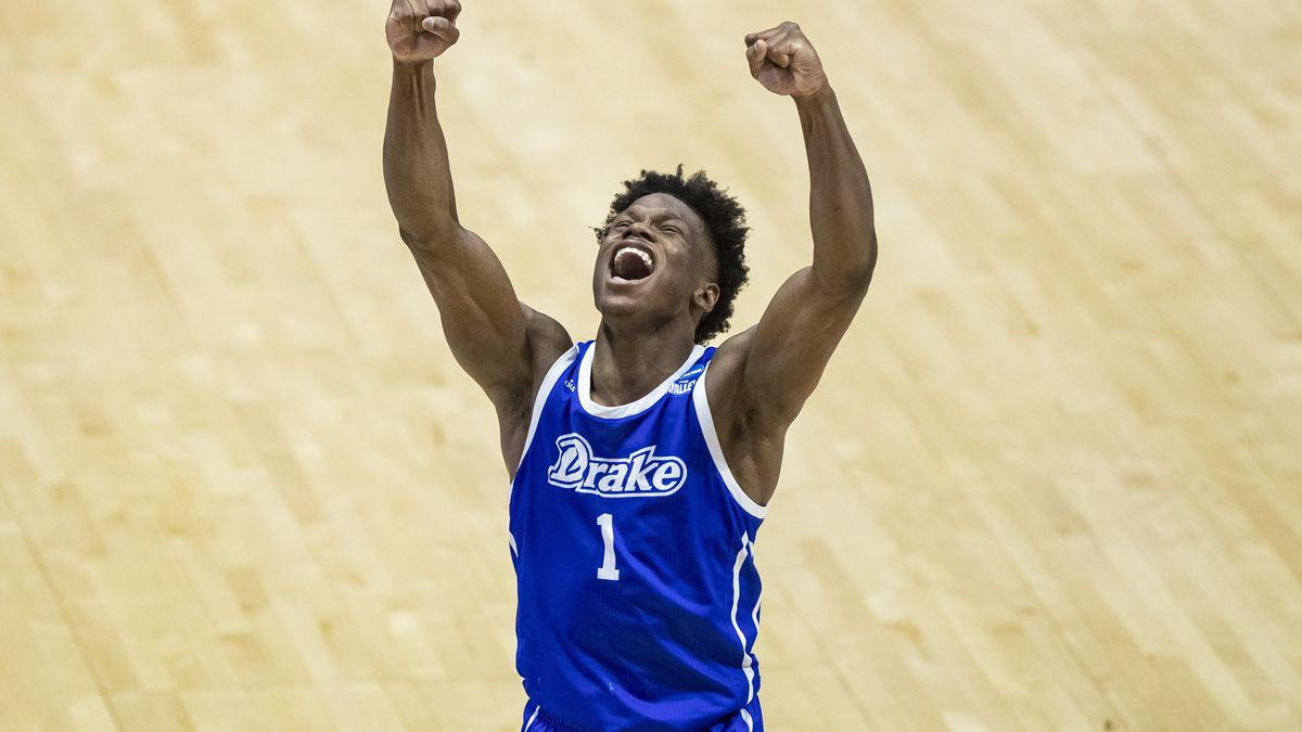 Drake's Joseph Yesufu celebrates late in the second half of a First Four game against Wichita...