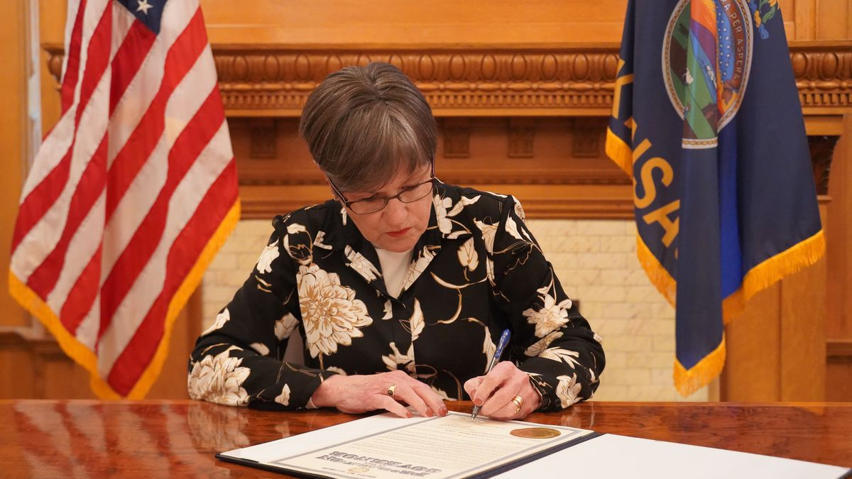 Gov. Laura Kelly signs a proclamation declaring March 7 as COVID Memorial Day on Sunday, March...
