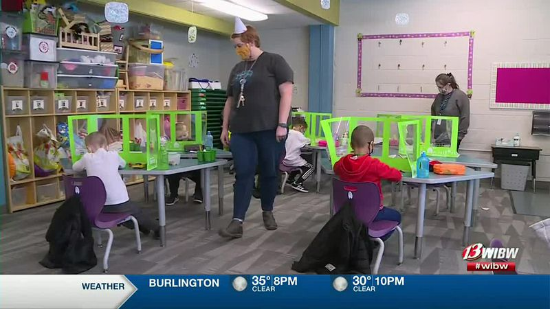 A classroom at Shaner Early Learning Academy on the first day after winter break on Monday,...