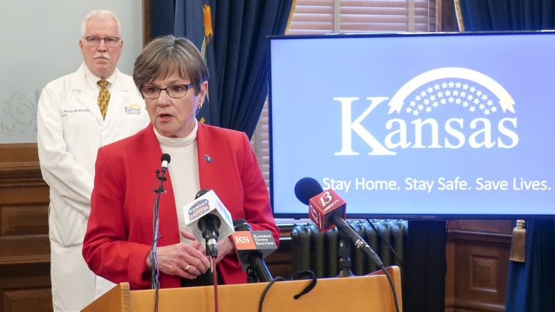 FILE - In this Friday, May 8, 2020 photo, Kansas Gov. Laura Kelly discusses the coronavirus...
