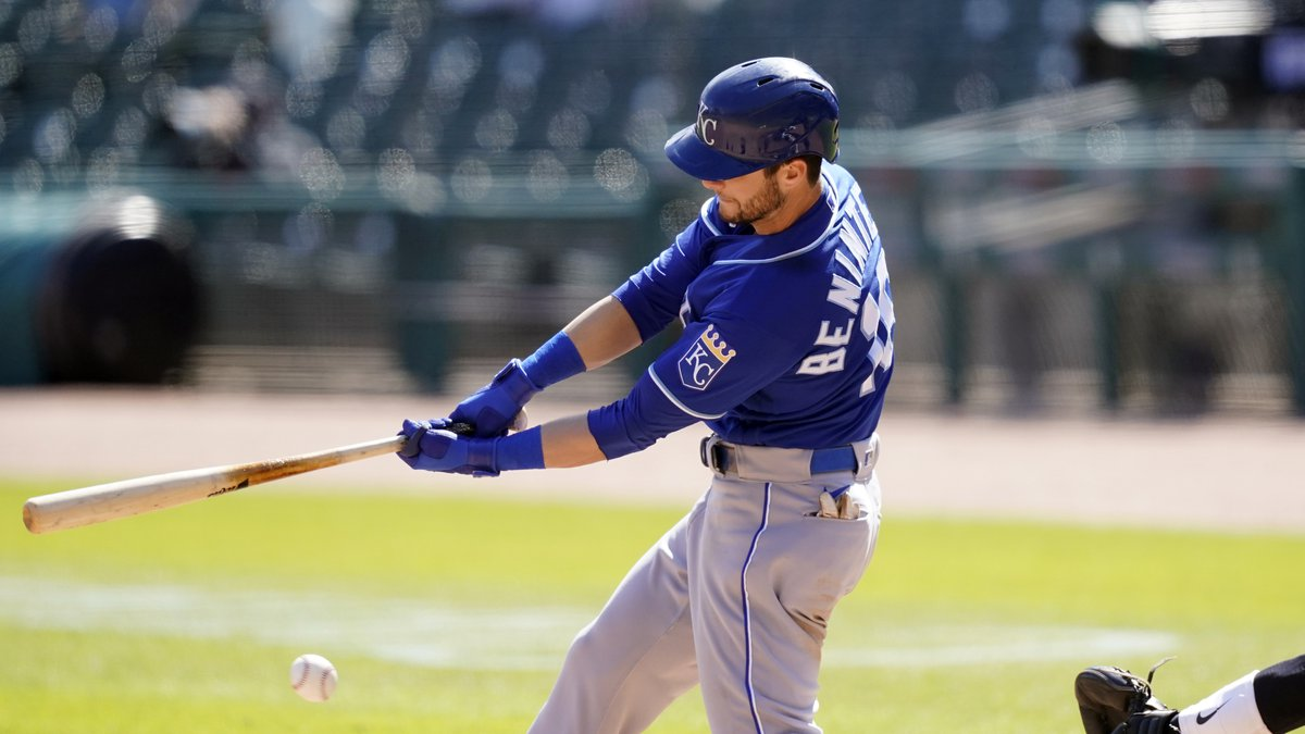 Kansas City Royals' Andrew Benintendi strikes out swinging to end the ninth inning of a...