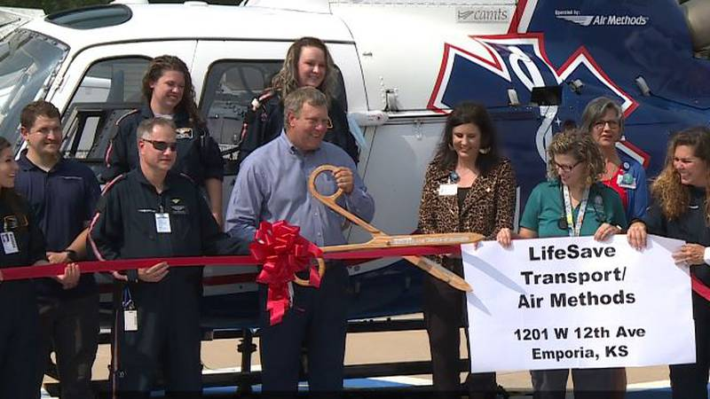 """Newman Regional Health staff and guests """"got to the chopper"""" Wednesday to check out the..."""