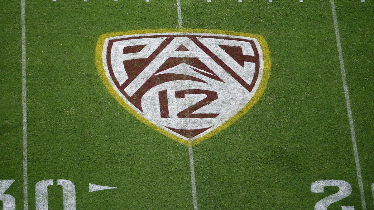 FILE - This Aug. 29, 2019, file photo shows the PAC-12 logo at Sun Devil Stadium during the...