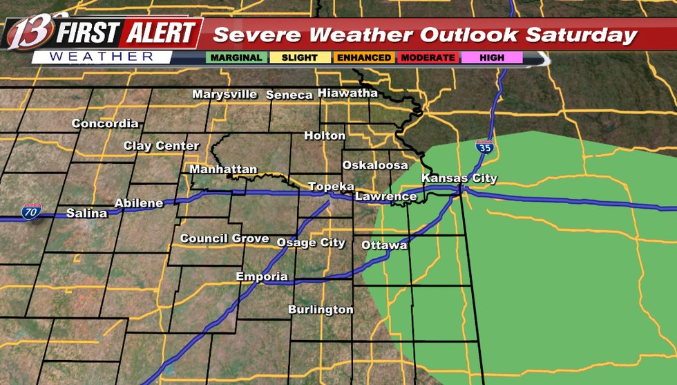 Hail/wind risk. There is a chance for non-severe storms outside of the risk area during the day...
