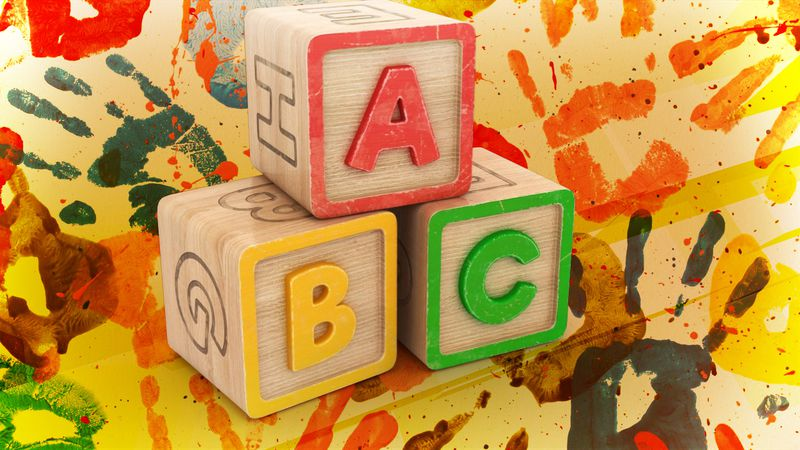 ABC blocks, painted hand prints