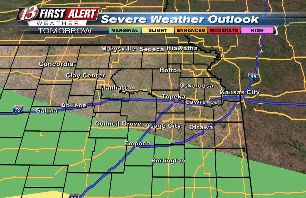 Hail/wind threat with any storms in the area on Saturday