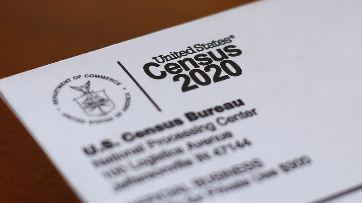 This Sunday, April 5, 2020, file photo shows an envelope containing a 2020 census letter mailed...