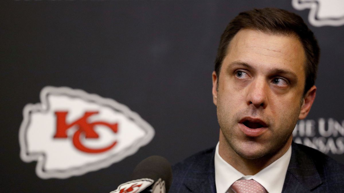 FILE - In this April 26, 2018, file photo, Kansas City Chiefs general manager Brett Veach talks...