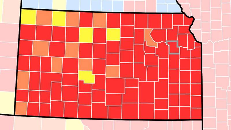 The CDC's COVID community transmission  map showed 99 of 105 Kansas counties at substantial or...