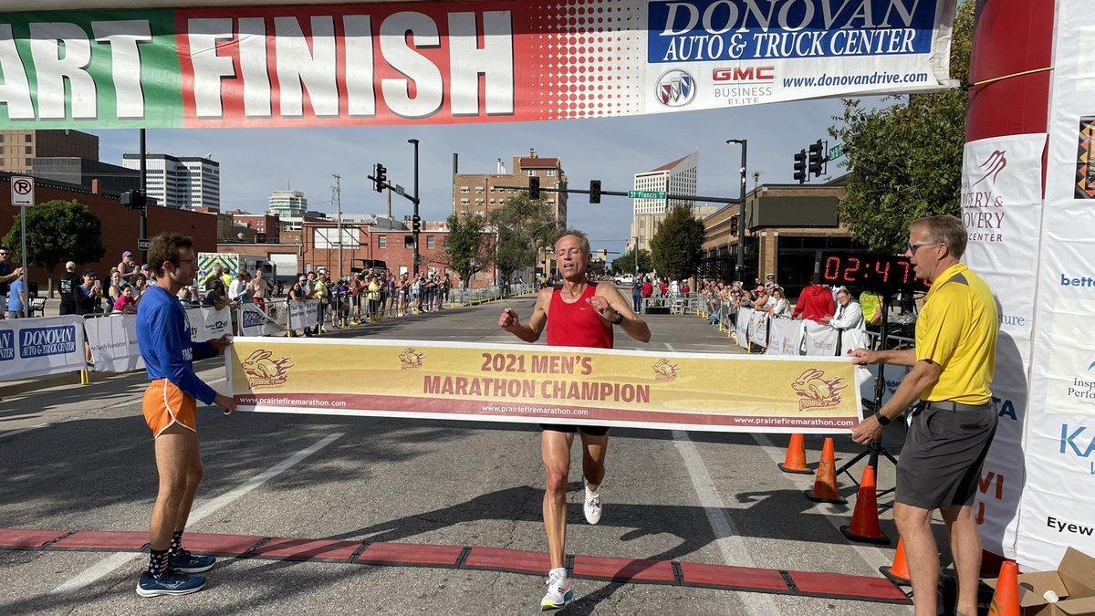 Topeka High Principal Rob Hays finished first in the Prairie Fire Marathon in Wichita, Kansas...
