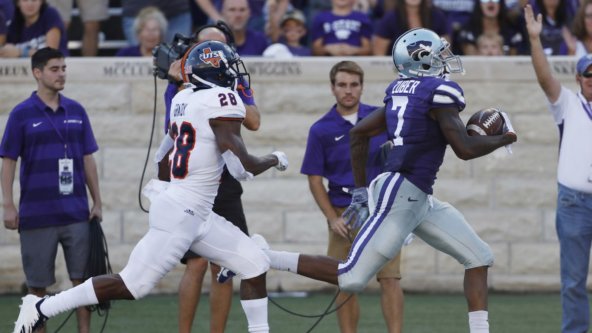 Kansas State wide receiver Isaiah Zuber (7) scores after catching a 72-yard pass as UTSA cornerback Cassius Grady (28) chases behind during the third quarter of a college football game in Manhattan, Kan., Saturday, Sept. 15, 2018. (AP Photo/Colin E. Braley)
