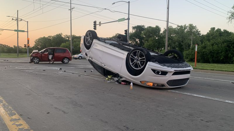 No injuries were reported in a two-vehicle crash that left one car on its top early Thursday at...
